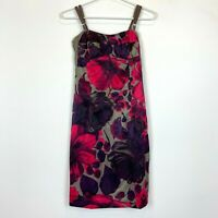 Annah Stretton Womens Khaki Floral Sleeveless Dress Size 8