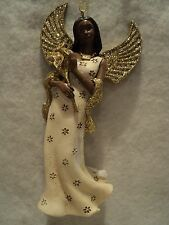 """KSA """"AFRICAN AMERICAN IVORY AND GOLD GLITTERED ANGEL ORNAMENT ~ FLOWERS"""" ~ NEW"""