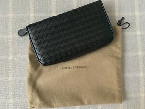 AUTHENTIC BOTTEGA VENETA INTRECCIATO Black Weave Large Zip Wallet Organiser NEW
