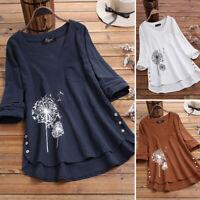 Vintage Femme Shirt Haut Tops Manche Longue Col V Coton Imprimé Asymétrique Plus