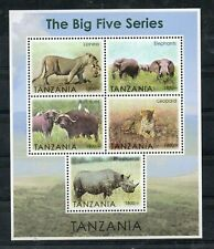 TANZANIA, 2015, THE BIG FIVE ANIMALS, S/S,MNH