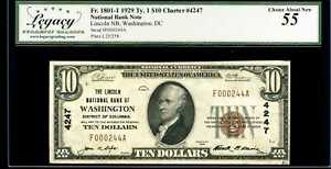 1929 $10 Natl Bank Washington DC Fr.1801-1 Ty.1 Ch#4247 Choice AU 55 #B002674A