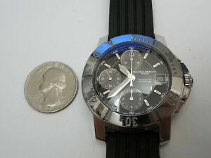 BAUME MERCIER STEEL 40MM CAPELAND S AUTOMATIC CHRONOGRAPH WITH RUBBER DEPLOYMENT