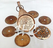 "Vintage Antique Brass Astrolabe 8"" Arabic Globe Navigation Astrological Calendar"