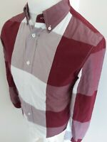 Mens Fred Perry Long Sleeve Shirt Red Check Plaid Small 38 Chest Mod Ska Casuals