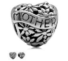 MOTHER FILIGREE FLOWER HEART .925 Sterling Silver European Charm Bead M4