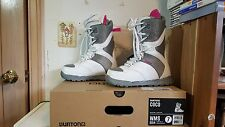 BURTON COCO NIB WMS 2014 Lace & Hook White/Gray/Pink Snowboard Boots Size 7