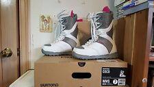 BURTON COCO NIB WMS 2014 Lace & Hook White/Gray/Pink Snowboard Boots Size 7