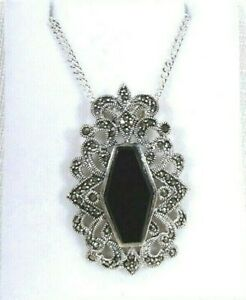 Natural Black Onyx & Marcasite Solid Sterling Silver Necklace