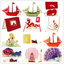 3D Carte De Voeux Pop Up Anniversaire Invitation Enveloppe Noël Mariage Décor
