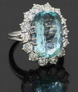 Italy 18K white gold 12.0CT VS diamond & aquamarine cocktail ring size 5.25