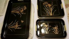 Lacquer Ware Tray Trio 3 Pcs nesting Set By Artmark Chicago New In Box Japan