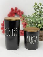 Rae Dunn COFFEE And SUGAR Cellars With Black LL And Wood Lids.