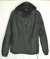 OAKLEY Men's Soft Shell Jacket Size L Gray Black Hooded Regular Fit Houndstooth