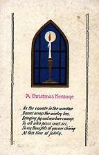 Weihnachten, Kirchenfenster, Kerze, amerikanische AK, um 1915