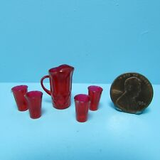 Dollhouse Miniature Chrynsbon Water Pitcher and Drinking Glass Set Red CB88R