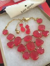 STUNNING Kate Spade Vegas Jewels FACETED Cluster Necklace & Earrings SET Pink