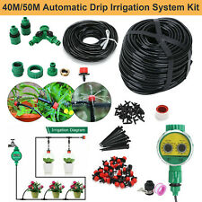 More details for 160ft automatic drip irrigation system kit plant+timer self watering garden hose