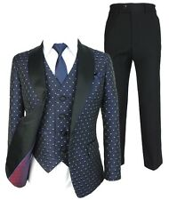 Boys Navy Blue Polka Dot Tuxedo Suit Quilted Satin Lapel Wedding Page Boy Suits