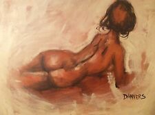 """Vintage Bare Back Lady Oil Painting signed Danvers 37""""x37"""" with Frame"""