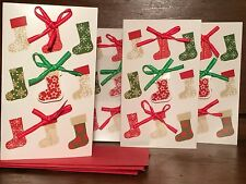 NEW Holiday Christmas Card Set of 4 With Envelopes Stockings & Bows 5 x 3 Inch