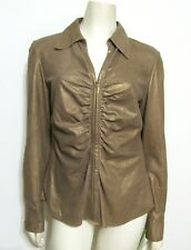 Lafayette 148 100% Leather Ruched Shirt 8 Gold Sparkled Brown Zip Up Cardigan M