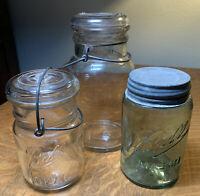 Vintage Canning Jars Quart (1) Pint (2) With Lids