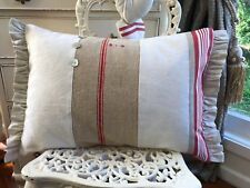 VINTAGE FRENCH CHIC LINEN ROSES FABRIC CUSHION TICKING shabby ~pillow~trim