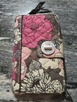 Vera Bradley Flower Print Turnlock Card Wallet Pink Brown