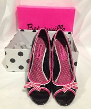 Betsyville Size 7 Medium Black / Pink Open Toe High Heel Shoe Slight wear In Box