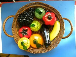 Nine Piece Full Size Glass Fruit And Vegetable Assortment