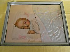 1940s Vintage Sleeping Baby Picture~lithograph & fabric collage~framed,glass
