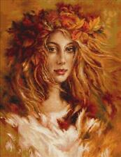 Natalie Young Woman Autumn Autumnal Counted Cross Stitch Kit