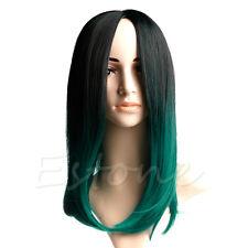 "35cm 14"" Cap Short Straight Women Wig Synthetic Hair Black and Dark Green"