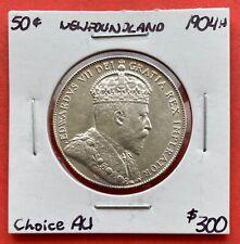 1904 H Newfoundland 50 Cent Coin Fifty Silver Half Dollar - $300 Choice AU