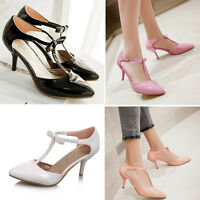 Ladies Pointed Toe T-Strap Bow Tie Mid Heel Sandals Court Shoes UK Size 1-8 D630