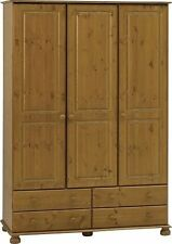 Richmond Pine Home Bedroom Furniture 3 Door 4 Drawer Triple Wardrobe Spacious