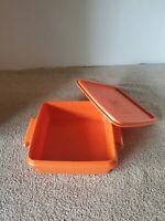 Vintage Orange Tupperware Square Away Sandwich Keeper 1362 with Lid 1363