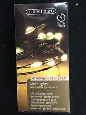 60 x Micro Bianco Caldo Luci Albero di Natale 295 cm batteria di fili VERDE OP W Timer