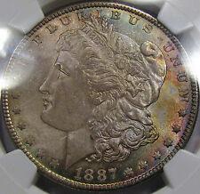 1887 Morgan Silver Dollar Gem BU NGC MS-64... Beautiful Rim Toning, So NICE!!
