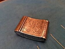 Antique 1800S Amish Dutch Brass Tobacco Box Folk Art Engraved Parsons