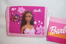 African American Pink Flowers BARBIE TRI-FOLD WALLET Coin Purse Card Holder NEW!