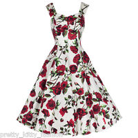 Vintage Ivory Cream White Rose Floral Prom Rockabilly Swing Cocktail Dress 8-18