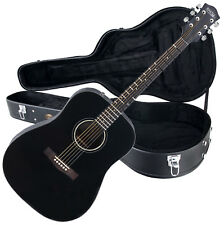 Acoustic Blues Folk Guitar Dreadnought 6 D'Addario Strings Set With Case Black
