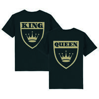 Partnerlook - T-Shirt für Paare - King Queen Wappen Couple Unisex Shirt schwarz