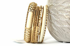 Women's Fashion Gold Colored Metal  Bangles Bracelet Set Ivory/Gold