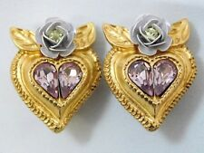 Vintage French Christian Lacroix Rose Heart Pink Crystal Clip On Earrings Signed