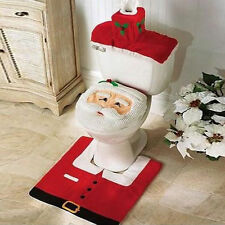 Christmas Xmas Decorations Fancy Santa Toilet Seat Cover and Rug Bathroom Set