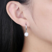 18K White Gold Plated CZ Crystal Heart Drop Dangle Fashion Earrings