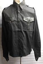 Steampunk Sdl Men's Black Cotton Shirt Gunmetal Fasteners & Leatherette Trim L